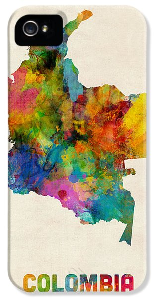 Map iPhone 5 Cases - Colombia Watercolor Map iPhone 5 Case by Michael Tompsett