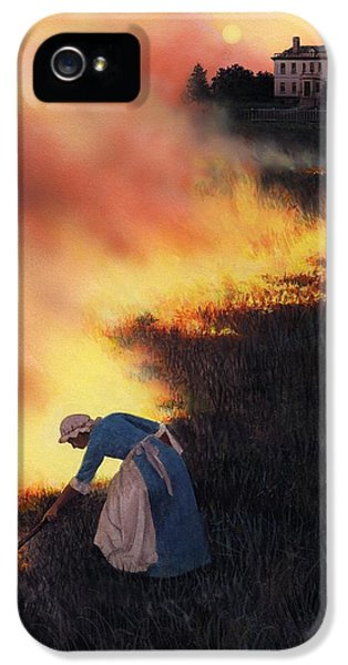 American Revolution iPhone 5 Cases - Colonial Woman Burning Fields iPhone 5 Case by Rob Wood