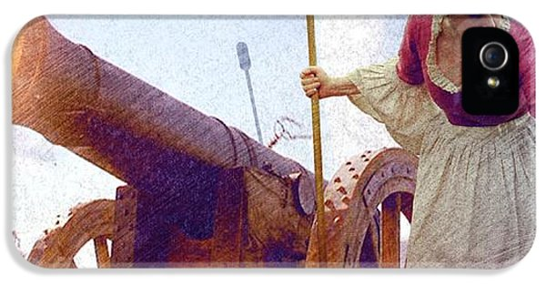 American Revolution iPhone 5 Cases - Colonial Woman Firing Cannon iPhone 5 Case by Matthew Frey