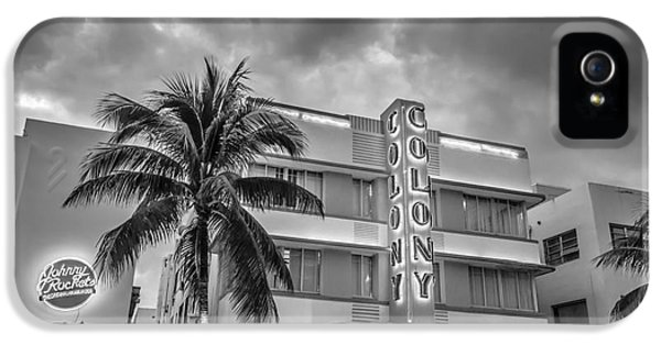 1930s iPhone 5 Cases - Colony and Johnny Rockets Art Deco District SOBE Miami - Black and White iPhone 5 Case by Ian Monk