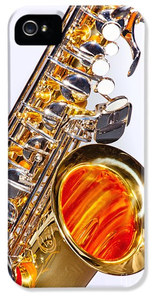 Rock And Roll Photographs Pictures iPhone 5 Cases - Color Photograph of a Tenor Saxophone 3356.02 iPhone 5 Case by M K  Miller