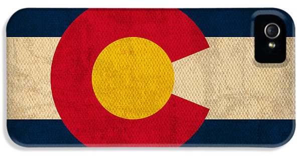 Flags iPhone 5 Cases - Colorado State Flag Art on Worn Canvas iPhone 5 Case by Design Turnpike