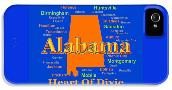 Alabama iPhone 5 Cases - Colorful Alabama State Pride Map Silhouette  iPhone 5 Case by Keith Webber Jr