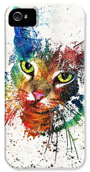 Honor iPhone 5 Cases - Colorful Cat Art by Sharon Cummings iPhone 5 Case by Sharon Cummings