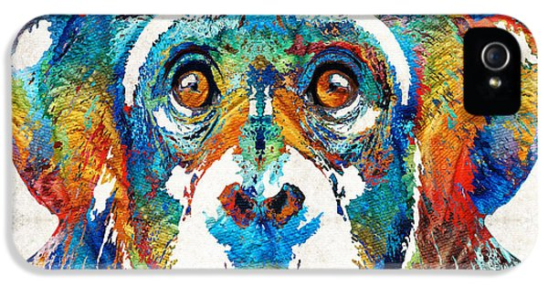 Zoo iPhone 5 Cases - Colorful Chimp Art - Monkey Business - By Sharon Cummings iPhone 5 Case by Sharon Cummings