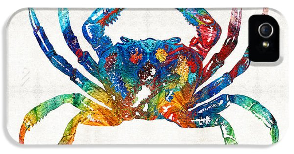 Blue Crab iPhone 5 Cases - Colorful Crab Art by Sharon Cummings iPhone 5 Case by Sharon Cummings