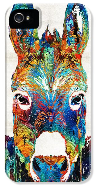 Donkey iPhone 5 Cases - Colorful Donkey Art - Mr. Personality - By Sharon Cummings iPhone 5 Case by Sharon Cummings