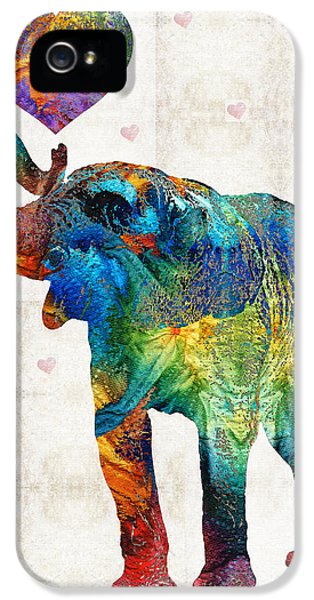 Elephant iPhone 5 Cases - Colorful Elephant Art - Elovephant - By Sharon Cummings iPhone 5 Case by Sharon Cummings