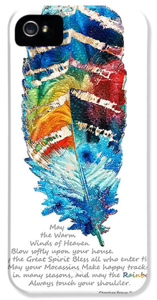 Native American Indian iPhone 5 Cases - Colorful Feather Art - Cherokee Blessing - By Sharon Cummings iPhone 5 Case by Sharon Cummings