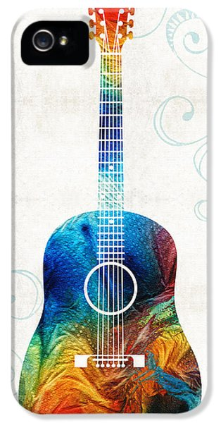 Acoustic iPhone 5 Cases - Colorful Guitar Art by Sharon Cummings iPhone 5 Case by Sharon Cummings
