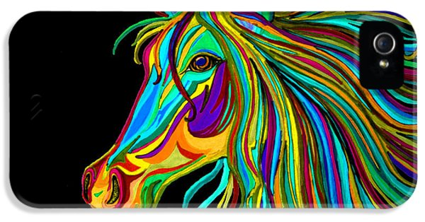 Mane iPhone 5 Cases - Colorful Horse Head 2 iPhone 5 Case by Nick Gustafson