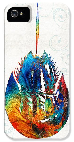 Arthropod iPhone 5 Cases - Colorful Horseshoe Crab Art by Sharon Cummings iPhone 5 Case by Sharon Cummings