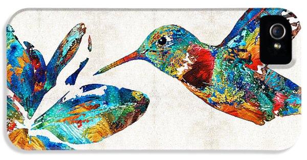Delicate iPhone 5 Cases - Colorful Hummingbird Art by Sharon Cummings iPhone 5 Case by Sharon Cummings