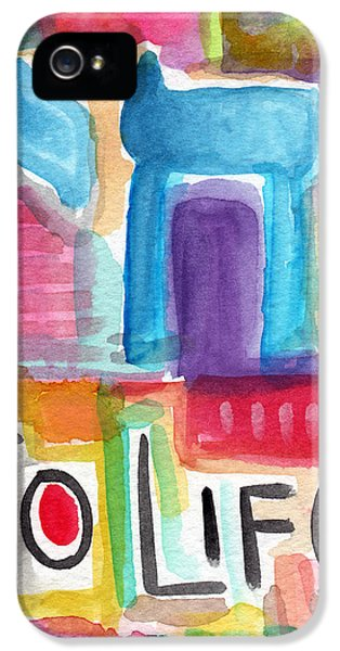 Judaica iPhone 5 Cases - Colorful Life- Abstract Jewish Painting iPhone 5 Case by Linda Woods