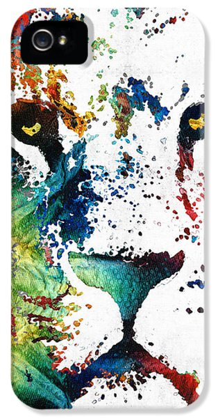 Zoo iPhone 5 Cases - Colorful Lion Art By Sharon Cummings iPhone 5 Case by Sharon Cummings
