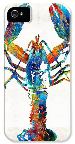 Eatery iPhone 5 Cases - Colorful Lobster Art by Sharon Cummings iPhone 5 Case by Sharon Cummings