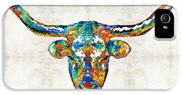 Bull iPhone 5 Cases - Colorful Longhorn Art By Sharon Cummings iPhone 5 Case by Sharon Cummings