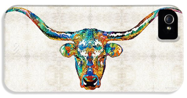 Chicago Bulls iPhone 5 Cases - Colorful Longhorn Art By Sharon Cummings iPhone 5 Case by Sharon Cummings