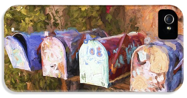 Artsy iPhone 5 Cases - Colorful Mailboxes Santa Fe Painterly Effect iPhone 5 Case by Carol Leigh