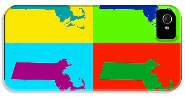 Massachusetts iPhone 5 Cases - Colorful Massachusetts Pop Art Map iPhone 5 Case by Keith Webber Jr