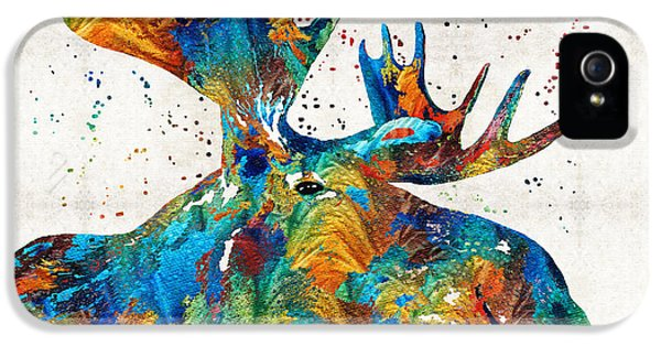Caribou iPhone 5 Cases - Colorful Moose Art - Confetti - By Sharon Cummings iPhone 5 Case by Sharon Cummings