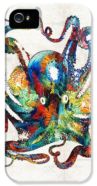 Arms iPhone 5 Cases - Colorful Octopus Art by Sharon Cummings iPhone 5 Case by Sharon Cummings
