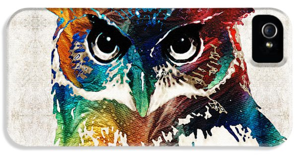 Wise iPhone 5 Cases - Colorful Owl Art - Wise Guy - By Sharon Cummings iPhone 5 Case by Sharon Cummings