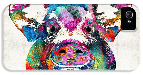 Babies iPhone 5 Cases - Colorful Pig Art - Squeal Appeal - By Sharon Cummings iPhone 5 Case by Sharon Cummings