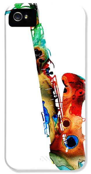 Rock And Roll iPhone 5 Cases - Colorful Saxophone by Sharon Cummings iPhone 5 Case by Sharon Cummings