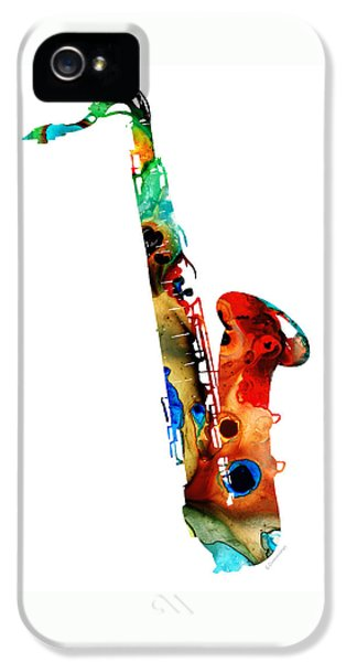 Music iPhone 5 Cases - Colorful Saxophone by Sharon Cummings iPhone 5 Case by Sharon Cummings