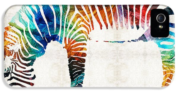 Zoo iPhone 5 Cases - Colorful Zebra Art by Sharon Cummings iPhone 5 Case by Sharon Cummings