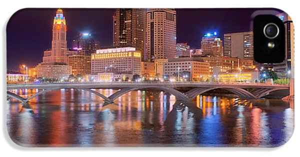 City Scene iPhone 5 Cases - Columbus Skyline at Night Color Panorama Ohio iPhone 5 Case by Jon Holiday
