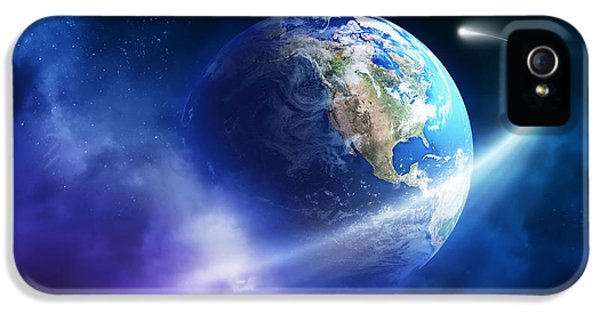 Speed iPhone 5 Cases - Comet moving passing planet earth iPhone 5 Case by Johan Swanepoel