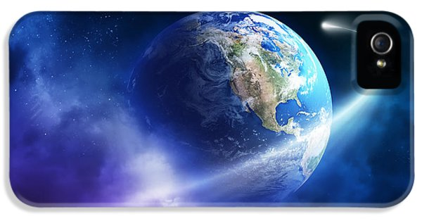 Solar System iPhone 5 Cases - Comet moving passing planet earth iPhone 5 Case by Johan Swanepoel