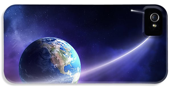 Solar System iPhone 5 Cases - Comet moving past planet earth iPhone 5 Case by Johan Swanepoel
