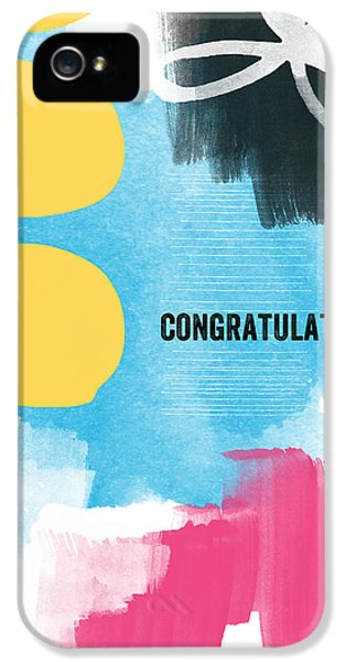 Greeting iPhone 5 Cases - Congratulations- abstract art greeting card iPhone 5 Case by Linda Woods