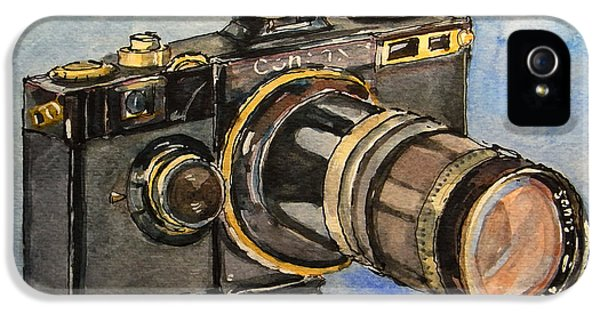 Film Watercolor iPhone 5 Cases - Contax I iPhone 5 Case by Juan  Bosco