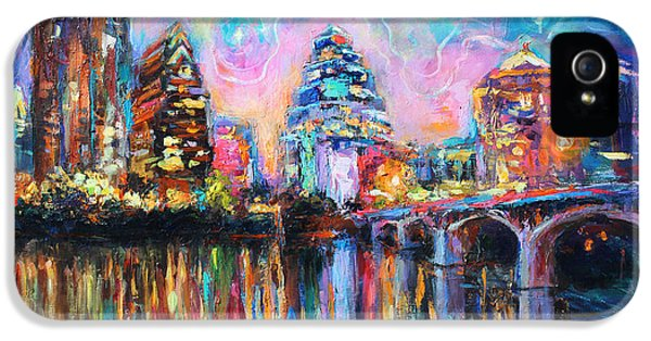 Texas iPhone 5 Cases - Contemporary Downtown Austin Art painting Night Skyline Cityscape painting Texas iPhone 5 Case by Svetlana Novikova