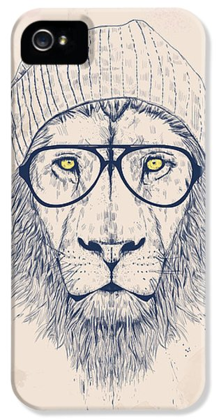 Glass iPhone 5 Cases - Cool lion iPhone 5 Case by Balazs Solti