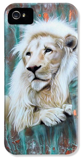 Copper iPhone 5 Cases - Copper White Lion iPhone 5 Case by Sandi Baker