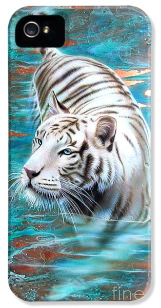 Copper iPhone 5 Cases - Copper White Tiger iPhone 5 Case by Sandi Baker