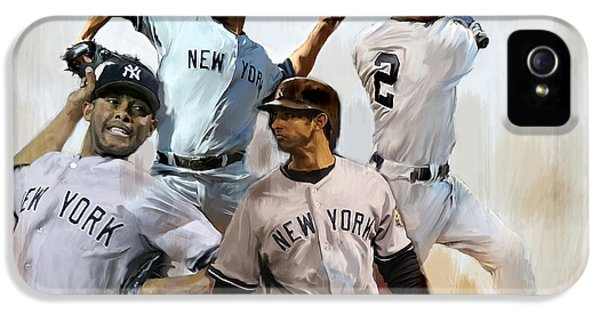 Main Street iPhone 5 Cases - Core VII Derek Jeter Mariano Rivera  Andy Pettitte Jorge Posada iPhone 5 Case by Iconic Images Art Gallery David Pucciarelli