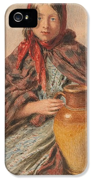 Clothing iPhone 5 Cases - Cottage girl seated with a pitcher iPhone 5 Case by William Henry Hunt