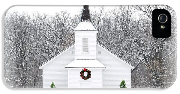 Religious iPhone 5 Cases - Country Christmas Church iPhone 5 Case by Carol Sweetwood