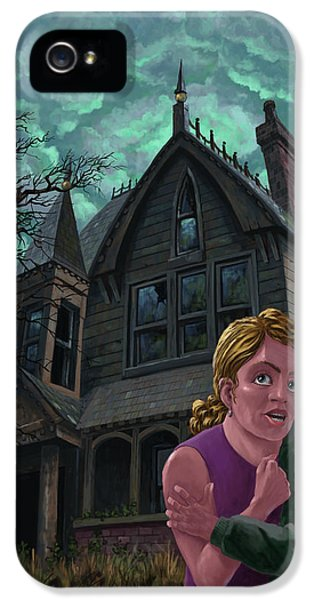 Haunted Houses iPhone 5 Cases - Couple Outside Haunted House iPhone 5 Case by Martin Davey