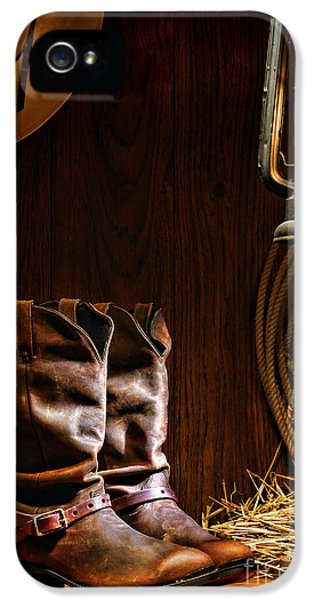 American Western iPhone 5 Cases - Cowboy Boots at the Ranch iPhone 5 Case by Olivier Le Queinec