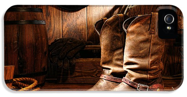 American Western iPhone 5 Cases - Cowboy Boots in a Ranch Barn iPhone 5 Case by Olivier Le Queinec