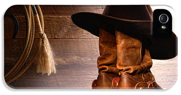 Hat iPhone 5 Cases - Cowboy Hat on Boots iPhone 5 Case by Olivier Le Queinec