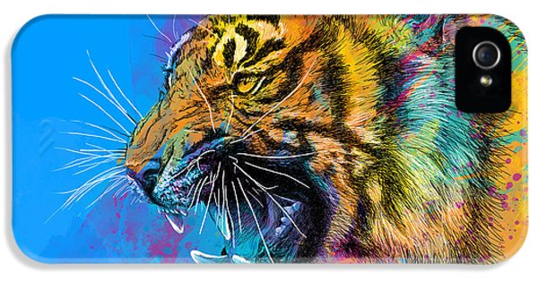 Vibrant iPhone 5 Cases - Crazy Tiger iPhone 5 Case by Olga Shvartsur