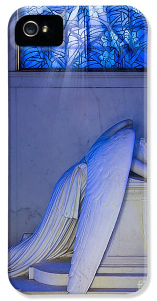 Cemetary iPhone 5 Cases - Crying Angel iPhone 5 Case by Inge Johnsson